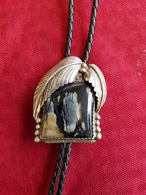 Vintage Signed Sterling Silver Bolo With Large Black Agate? Stone
