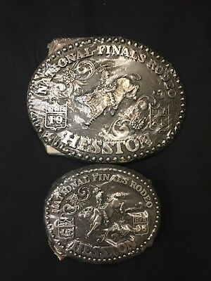 1998 National Finals Rodeo 2 Belt Buckles Hesston Collectible NFR