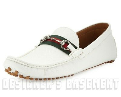 23ccb020fdce See Details. GUCCI mens 7G  White Pebbled DAMO Horsebit WEB Driving  Moccasin shoes NIB Authen
