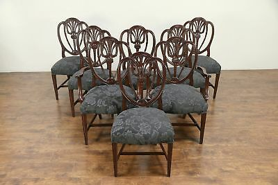 Set of 8 Shield Back Mahogany Vintage Dining Chairs, New Upholstery #30150