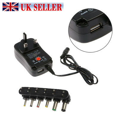 UK Universal Mains AC/DC Power Adaptor Supply Plug Charger 3/4.5/5/6/9/12v ww