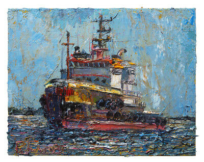 Print Of█Oil█Painting█Landacape█Tugboat█Art Boat Realism Ocean Signed█Nautica A