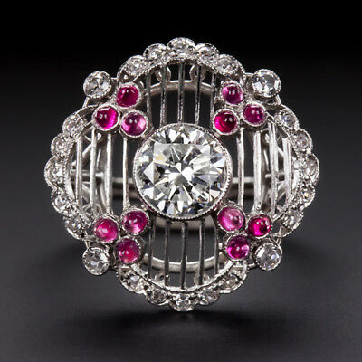 1.30c ORG ANTIQUE NATURAL CERTIFIED DIAMOND PLATINUM FILIGREE RUBY RING COCKTAIL