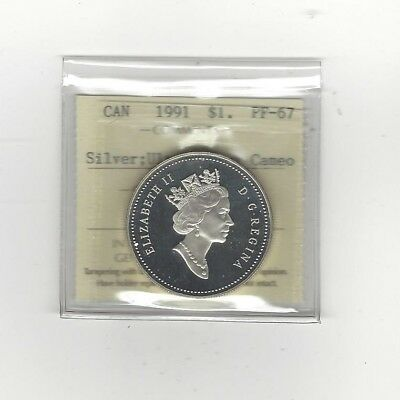 **1991**, ICCS Graded Canadian Dollar **Silver PF-67 UHC**