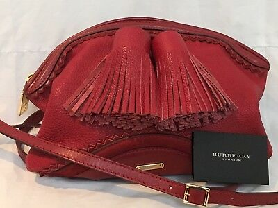 Designer BURBERRY RED Leather OVERSIZED CLUTCH Handbag Crossbody Shoulder BAG
