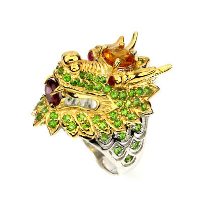 Awesome Round 6mm Citrine Chrome Diopside Garnet Ruby 925 Silver Dragon Ring 8