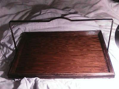 Vintage wooden tray with handle, berry (?) tray, brass handle. Unusual, large