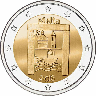 2018 Malta € 2 Euro Uncirculated UNC Coin Cultural Heritage Children Solidarity