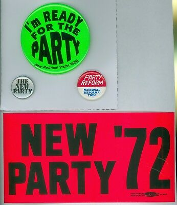 3 Vintage 1972 New York Party Political Campaign Pinback Buttons Fliers Sticker