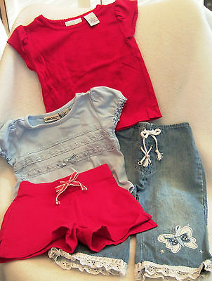 Lot 2 Outfits, 4-Pc Girls Clothes --Pants, Shorts, Tops Sz 2T