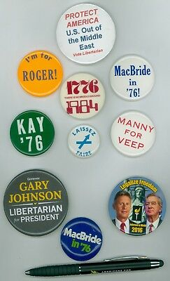 10 Vintage 1970s-16 Libertarian Party Political Cause Pinback Buttons &1 Ink Pen