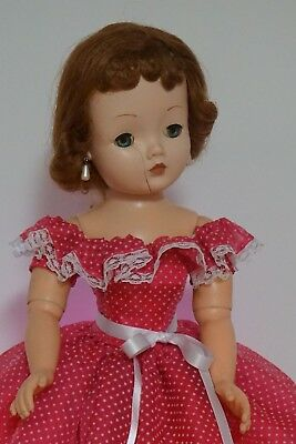 "Bright Pink Swiss Dot Dress for 20-21"" Vintage & Modern Cissy MA Doll"