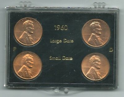 Set Of 4 Unc Large Date/Small Date 1960 Lincoln Cents Coin-Old Us Coin-Dec214