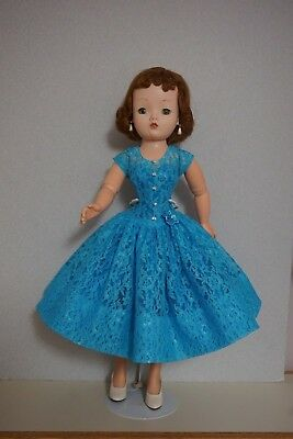 "Blue Lace and Taffeta Dress for 20-21"" Vintage & Modern Cissy MA Doll"