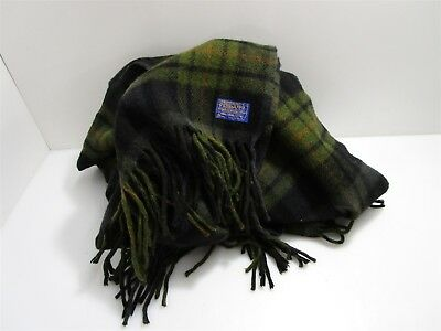 Pendleton Wool Olive Green/Dark Blue/Black Plaid Wool Blanket