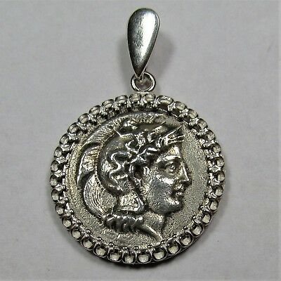 Authentic Ancient Greek Silver Coin Sterling Silver Pendant Setting Athena #244