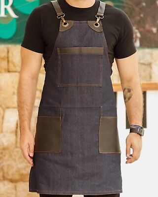 Hospitality Supply Cafe Restaurant Apron Uniform Leather Jeans Style