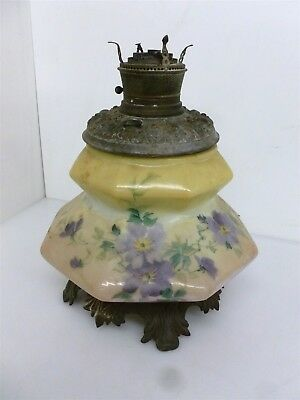 "Antique 14"" Hand Painted Cast Iron Oil Lamp Floral Design"