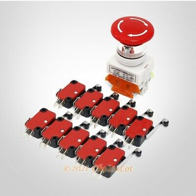 1 Piece Emergency Stop Switch + 10 Pieces Limit Switches For DIY CNC Kit