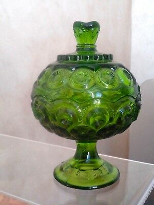 Vintage Le Smith Green Glass Moon & Stars Footed Candy Dish Bowl With Lid