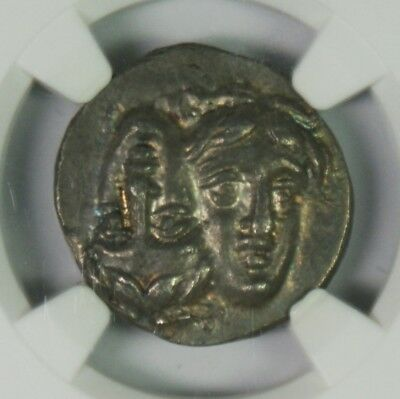 Ancient Greek 4th Century BC Moesia, Istrus Inverted Heads Drachm NGC CH AU