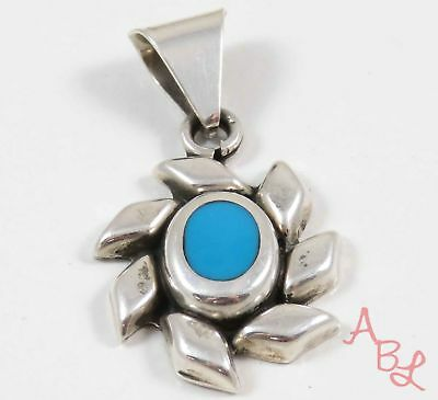 Sterling Silver 925 Starburst Mexican Blue Turquoise Pendant (9.9g) - 745952