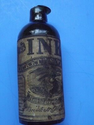 Early Dark Green Open Pontil Brickett & Thayer Ink Bottle
