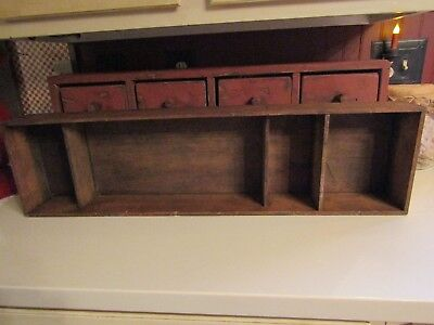 """Antique Wooden Cubby Divided Box-31"""" Long-4 Cubby Holes To Display-Great Conditi"""