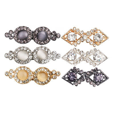 3Pairs Filigree Crystal Cape Cloak Clasp Fasteners Hook Eye Cardigan Button Pin