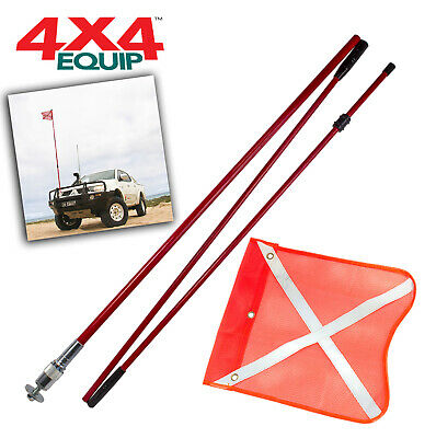 4x4 3 METRE RECOVERY SAND SAFETY FLAG SAND DESERT + QUICK RELEASE MOUNT BASE
