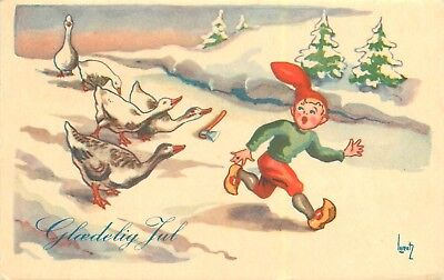 1951 Christmas Seal Tied To Denmark Stamp On Postcard. Geese Chasing Elf