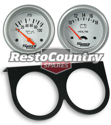 Speco 2 5/8 Gauge Kit Volts + Oil Pressure + Holder Silver Pro Series Electrical