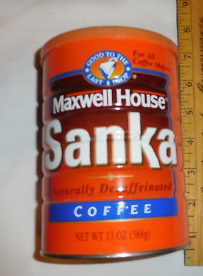 vintage Maxwell House Sanka Naturally Decaffeinated Coffee EMPTY Tin Can lid