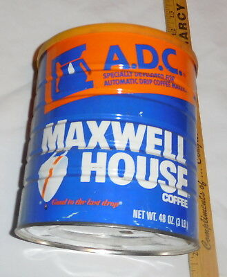 vintage Maxwell House Coffee EMPTY Tin Can with lid 48 oz size A.D.C.