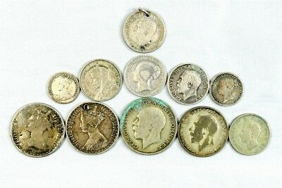 Lot of 11 Great Britain & British Commonwealth Silver Coins (1867-1942)