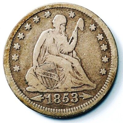 1853 Seated Liberty Quarter, Arrows & Rays - VF - 25c Silver