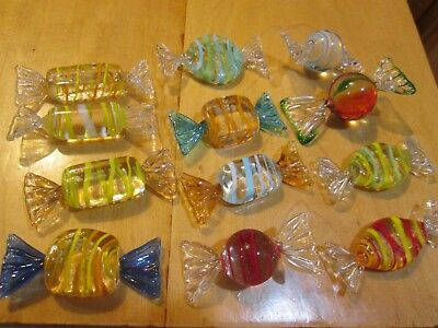 Vintage Murano Italian Art Glass Candy Multi-Color 12 Piece Wrapped Candies Exc.