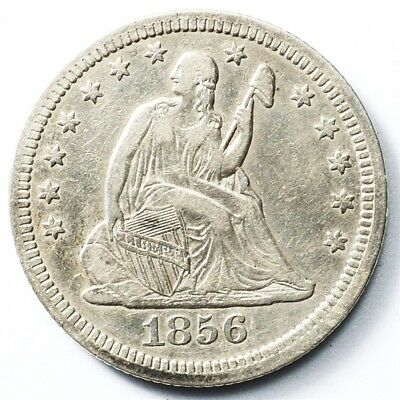 1856 Seated Liberty Quarter - XF Detail - 25c Silver - Extremely Fine