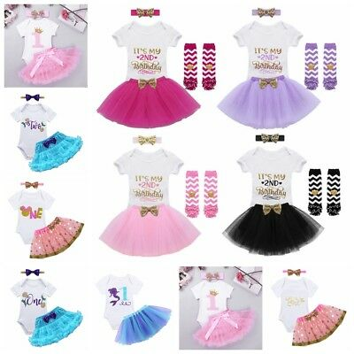 Infant Baby Girls It's My 1st/2nd Birthday Outfits Party Tutu Romper Costume Set