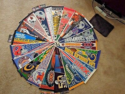 """20 PC LOT NFL Football Full Size 30""""  Pennants Lot 1 Super Bowl And More"""