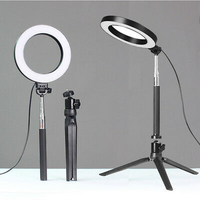 "6""LED Ring Light w/Stand 5500K Dimmable Lighting Kit for Makeup Phone Camera CW"
