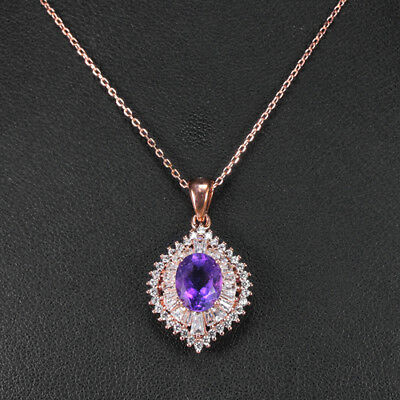 Natural Aaa Purple Amethyst Oval & White Cz Sterling 925 Silver Necklace 18