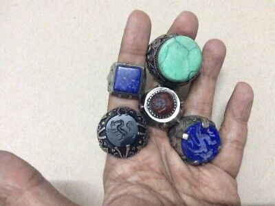 5 pcs antique turquoise lapis lazuli agate stone engraved quran ring silver AD