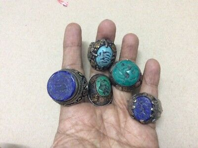 5 pcs antique turquoise lapis lazuli agate stone engraved quran ring silver AE