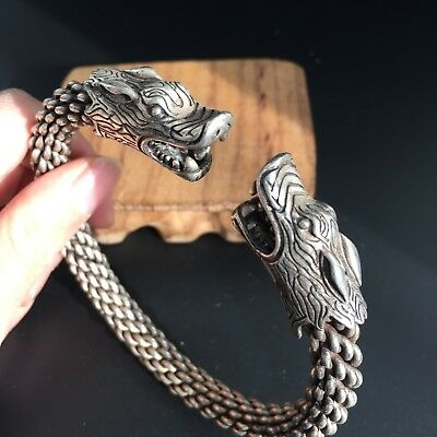 Rare Collectible Antique Tibet Silver Handwork Dragon Head Old Amulet Bracelet