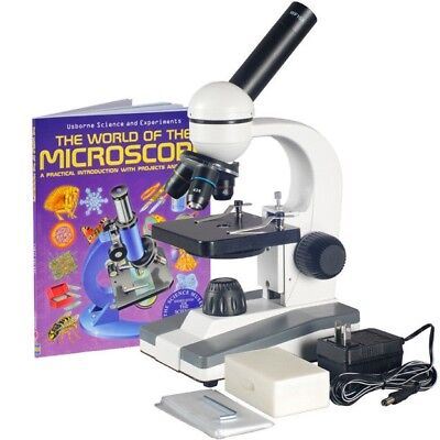 AmScope 40X-1000X Biological Science Compound Microscope w 10pc Slide Collection