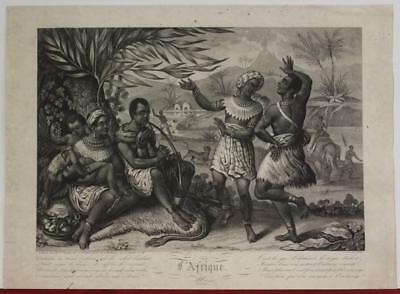 African Continent 1840 Roemild Scarce Antique Copper Engraved Allegorical Plate