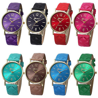 Ladies Womens Casual Leather Band Stainless Steel Analog Quartz Wrist Watch US
