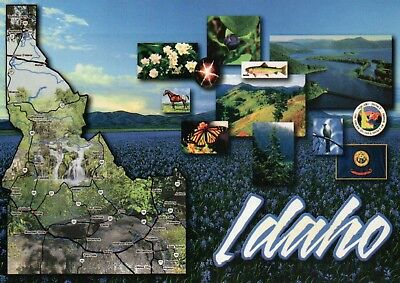 Map of Idaho, The Gem State, Boise, Waterfall, Butterfly, Flag & Seal - Postcard