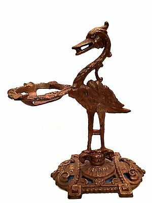 Cast Iron Bird Ashtray Holder Rare Antique Tabletop Stand Art Deco 10 inches